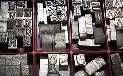 Bleibuchstaben für den typografischen Handsatz